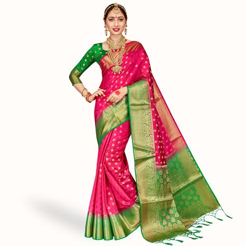Glowing Rani Pink Colored Festive Wear Banarasi Silk Saree