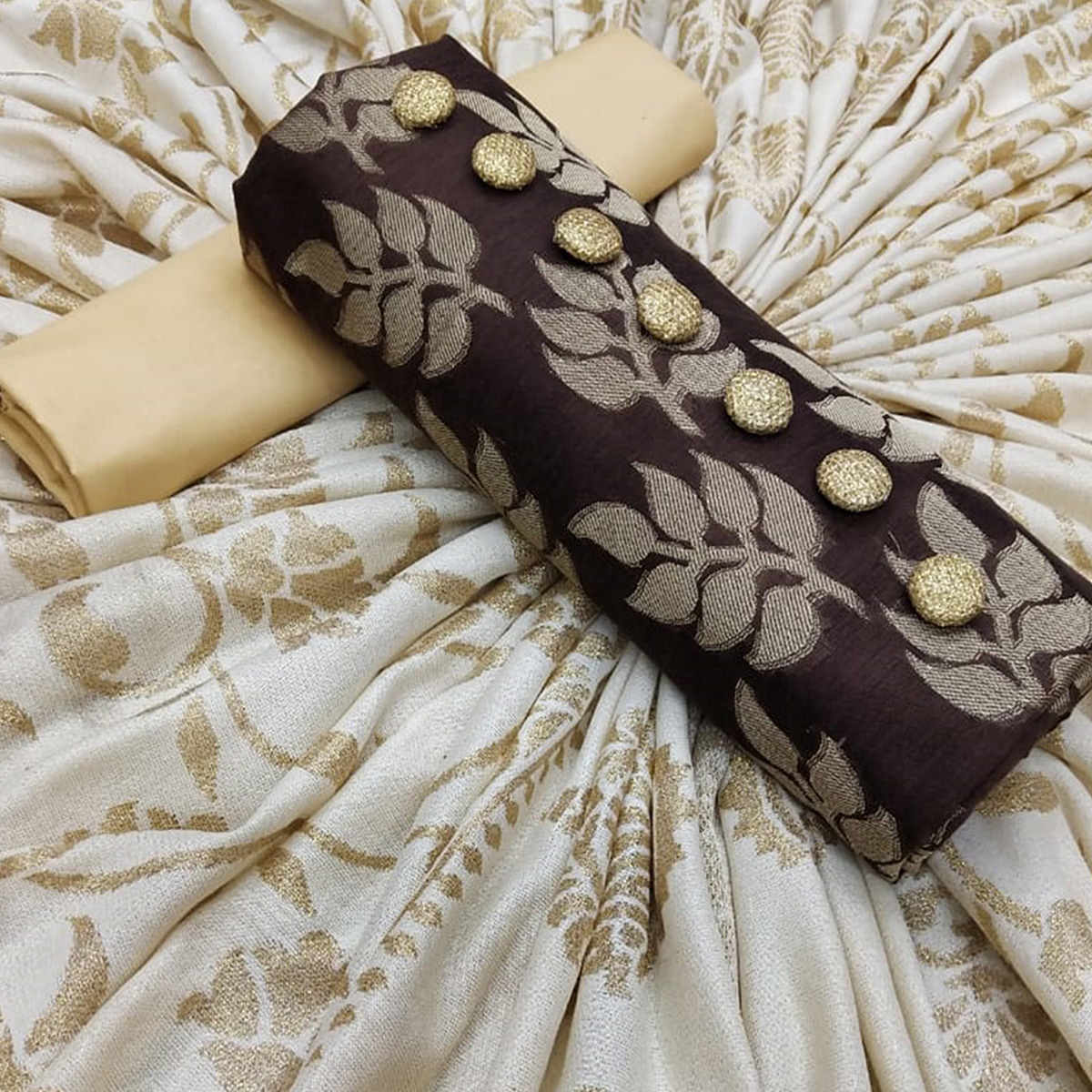 Eye-Catching Brown Colored Partywear Jacquard Silk Dress Material