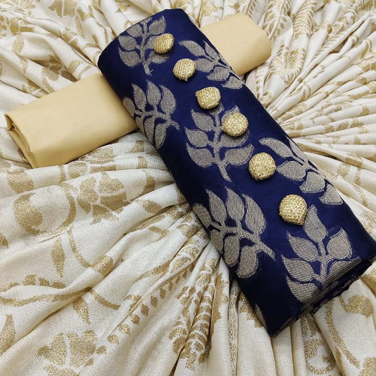 Gleaming Navy Blue Colored Partywear Jacquard Silk Dress Material