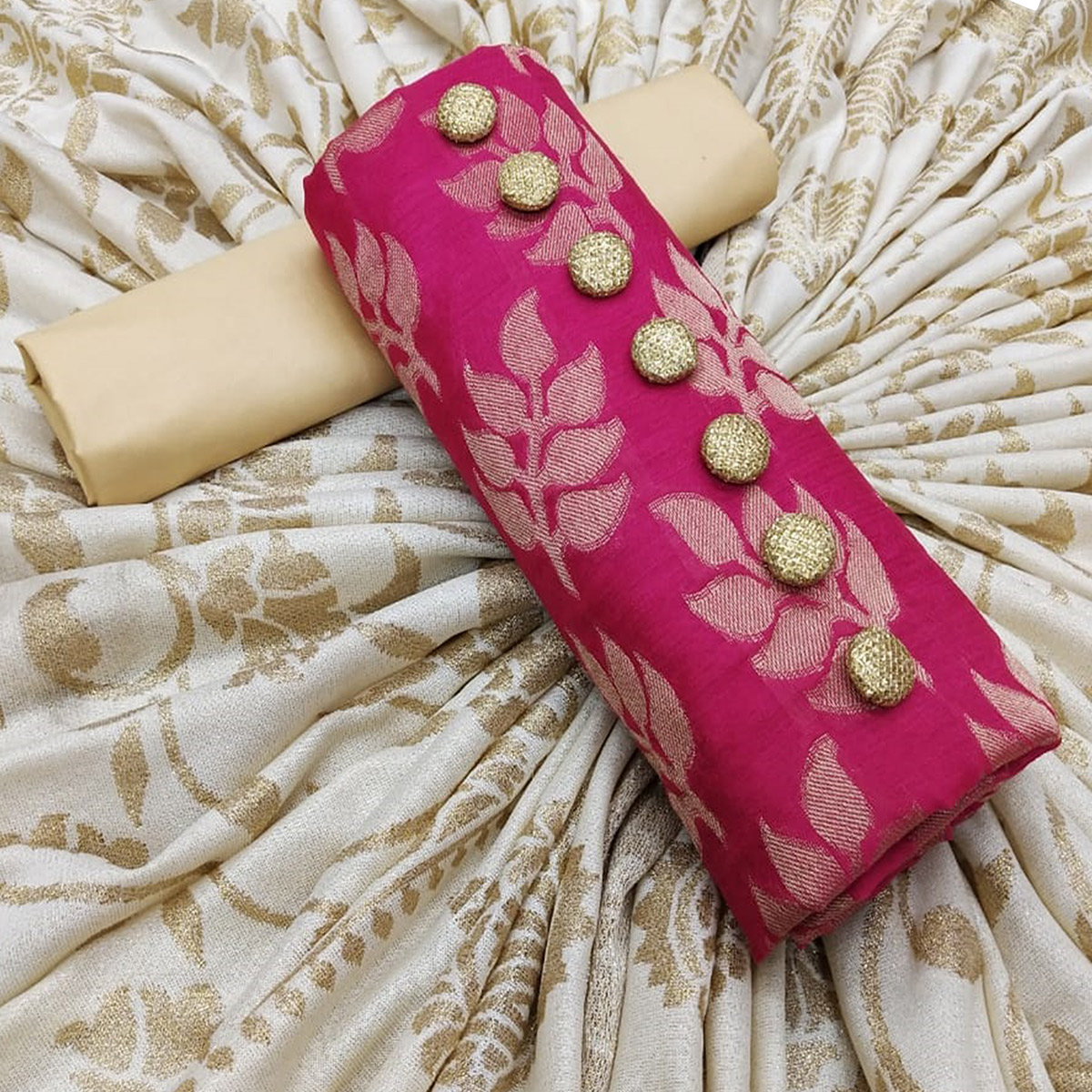 Charming Pink Colored Partywear Jacquard Silk Dress Material
