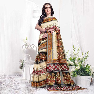 Cream Casual Wear Printed Bhagalpuri Silk Saree