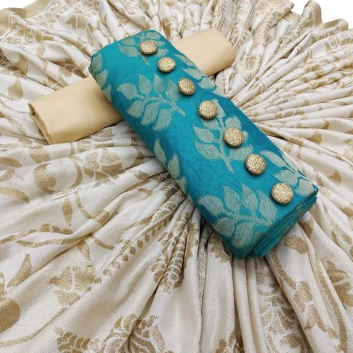 Blooming Sky Blue Colored Partywear Jacquard Silk Dress Material