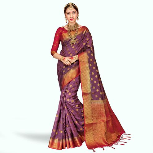 Engrossing Light Purple Colored Festive Wear Banarasi Silk Saree
