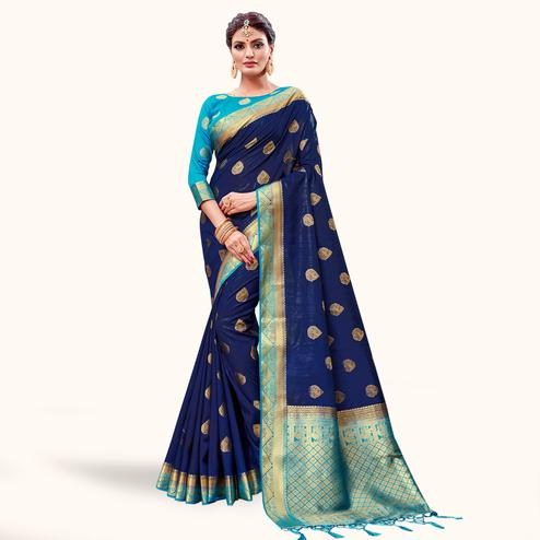 Innovative Navy Blue Colored Festive Wear Banarasi Silk Saree