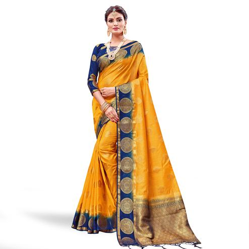Eye-catching Yellow Colored Festive Wear Banarasi Silk Saree