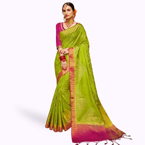 Flattering Green Colored Festive Wear Woven Silk Saree