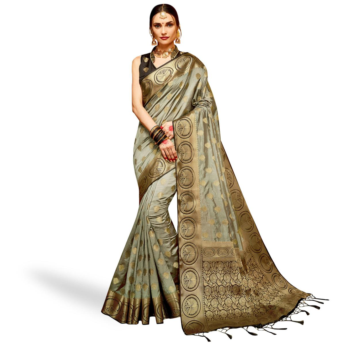 Excellent Gray Colored Festive Wear Woven Silk Saree