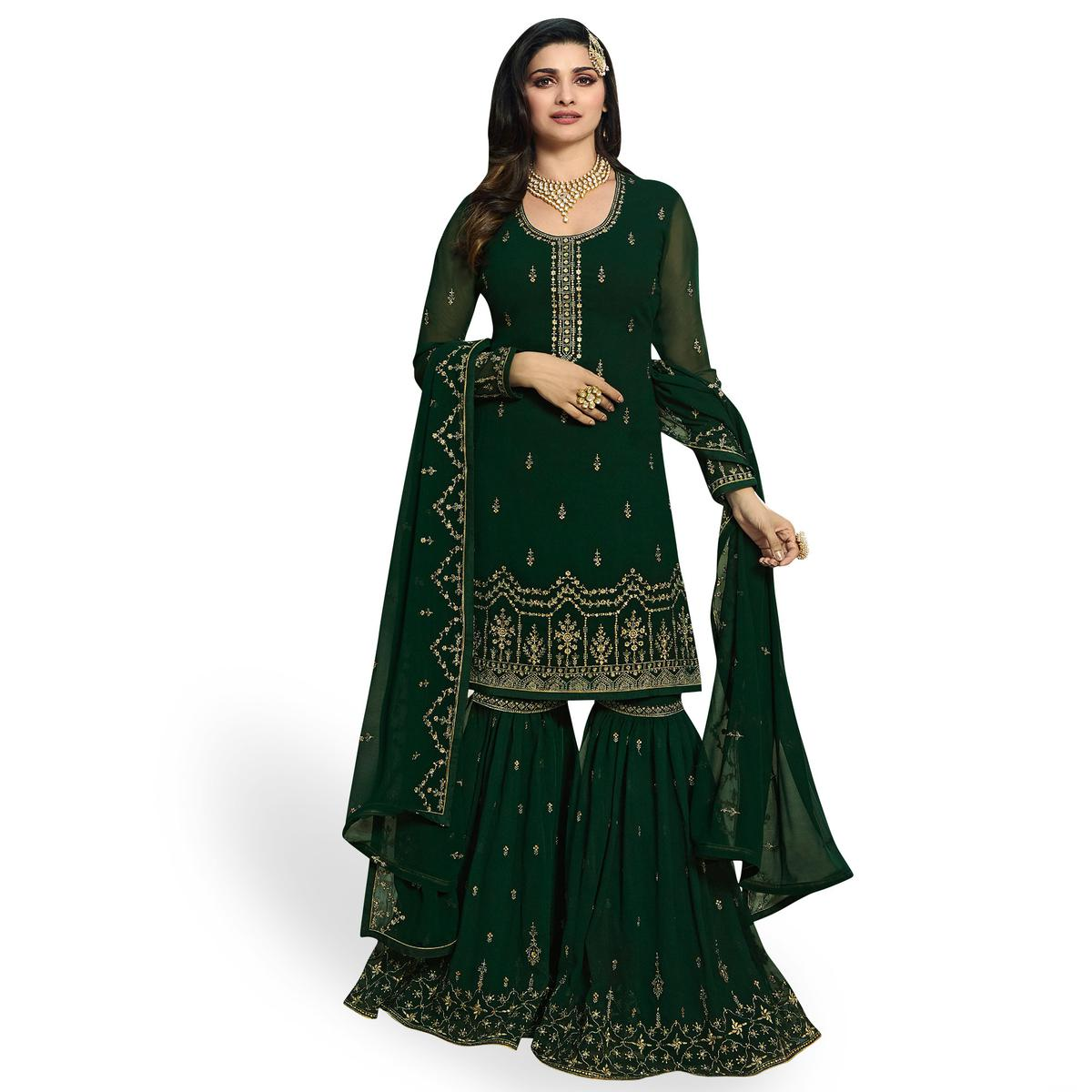 Intricate Dark Green Colored Party Wear Embroidered Georgette Palazzo Suit