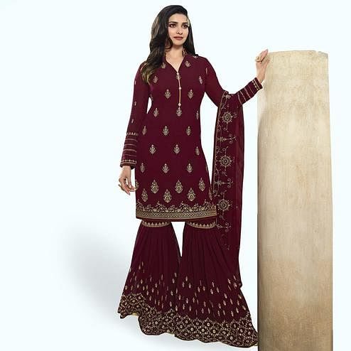 Arresting Maroon Colored Party Wear Embroidered Georgette Palazzo Suit