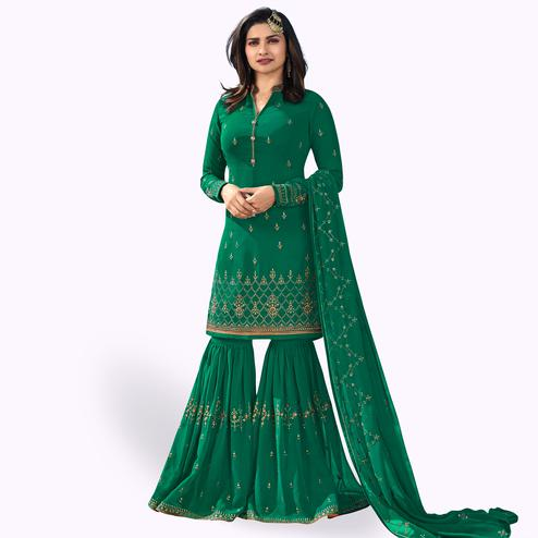 Desirable Rama Green Colored Party Wear Embroidered Georgette Palazzo Suit