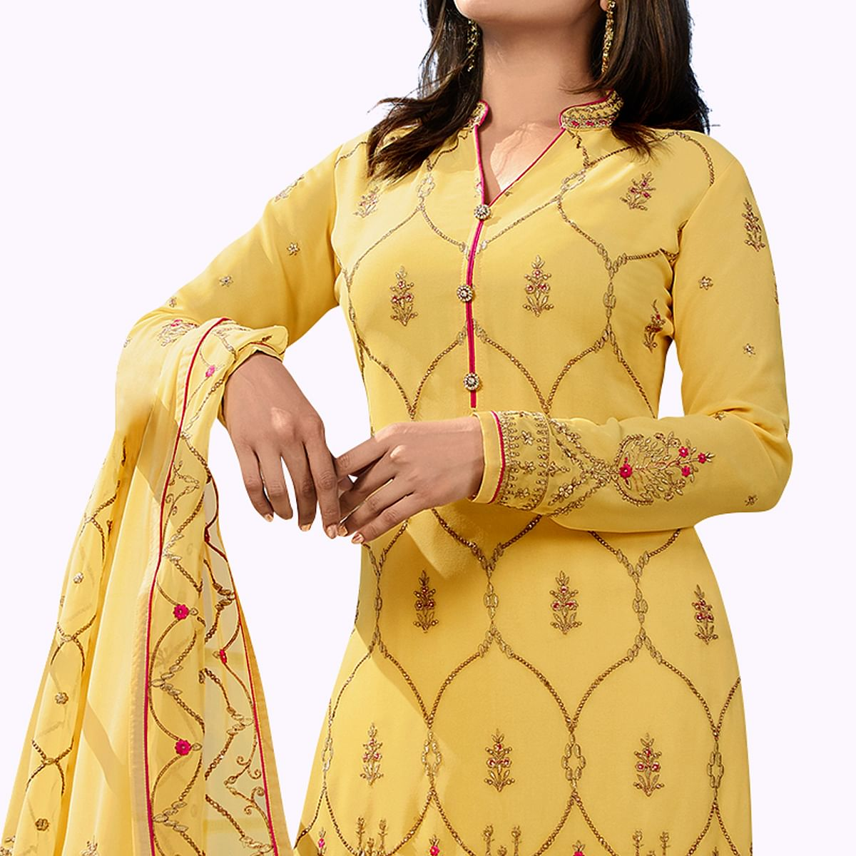 Exotic Yellow Colored Party Wear Embroidered Georgette Palazzo Suit