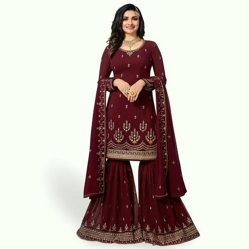 Trendy Maroon Colored Party Wear Embroidered Georgette Palazzo Suit
