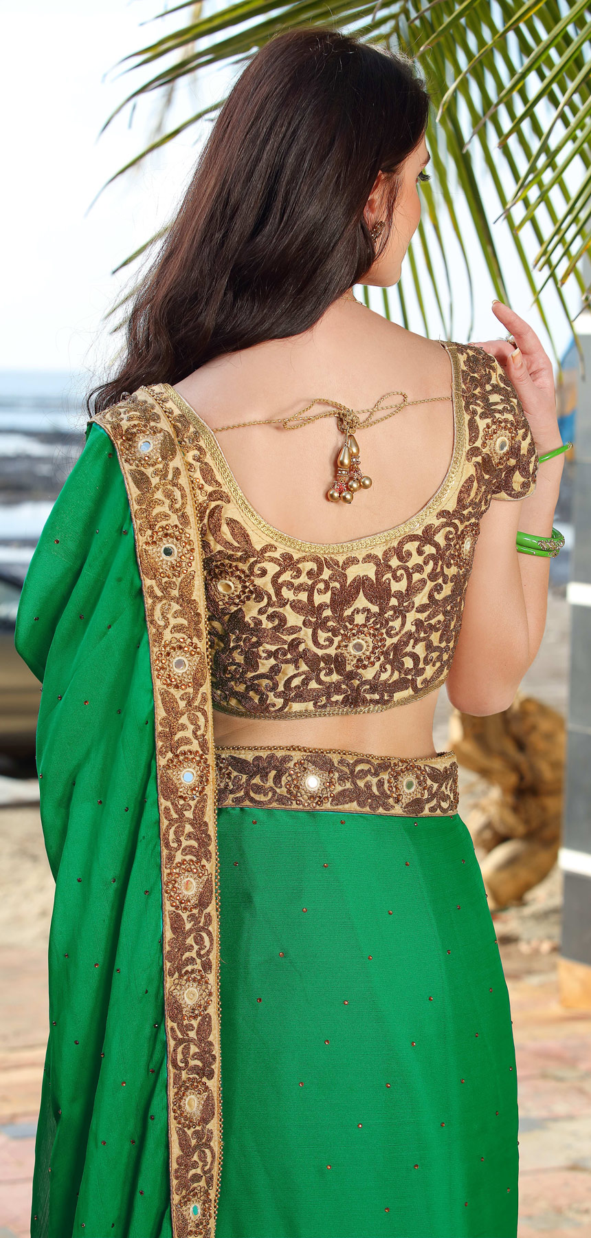 Gorgeous Green Designer Embroidered Marble Saree