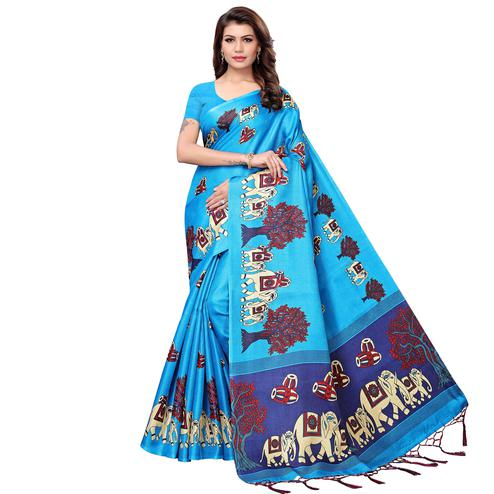 Glorious Blue Colored Festive Wear Printed Art Silk Saree
