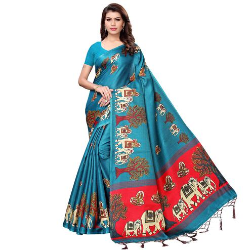 Beautiful Rama Blue Colored Festive Wear Printed Art Silk Saree