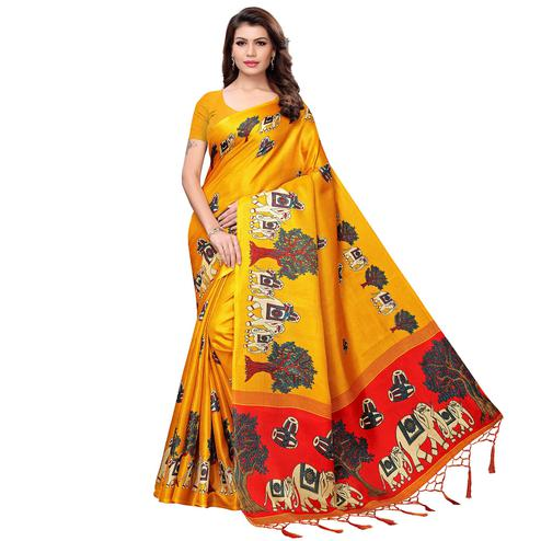 Graceful Yellow Colored Festive Wear Printed Art Silk Saree