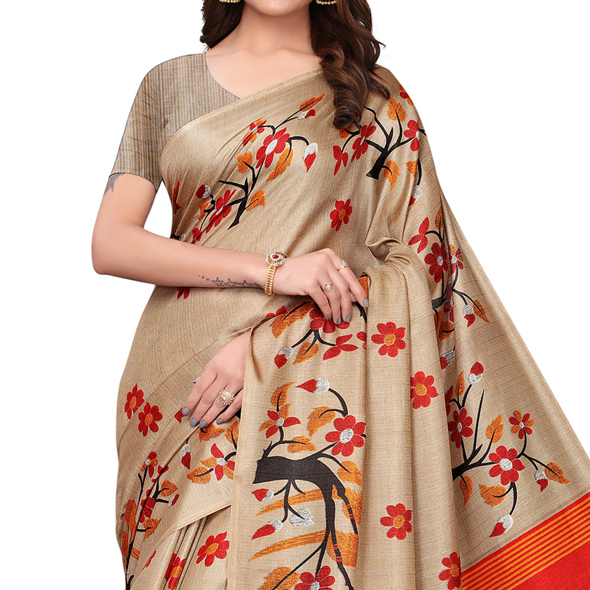 Blooming Chiku Colored Festive Wear Printed Art Silk Saree
