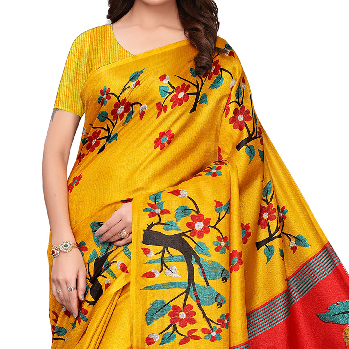 Charming Yellow Colored Festive Wear Printed Art Silk Saree