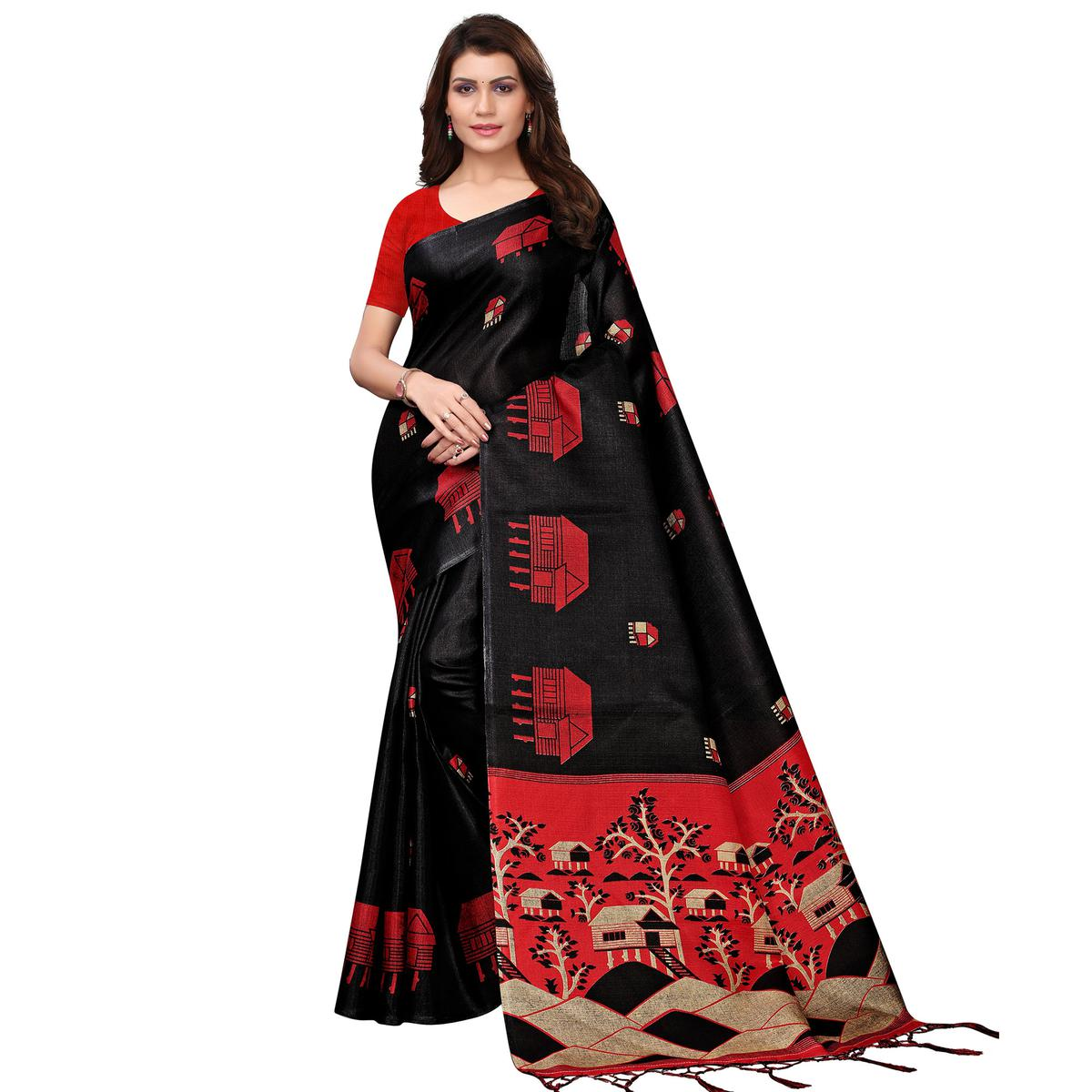 Jazzy Black Colored Festive Wear Printed Art Silk Saree