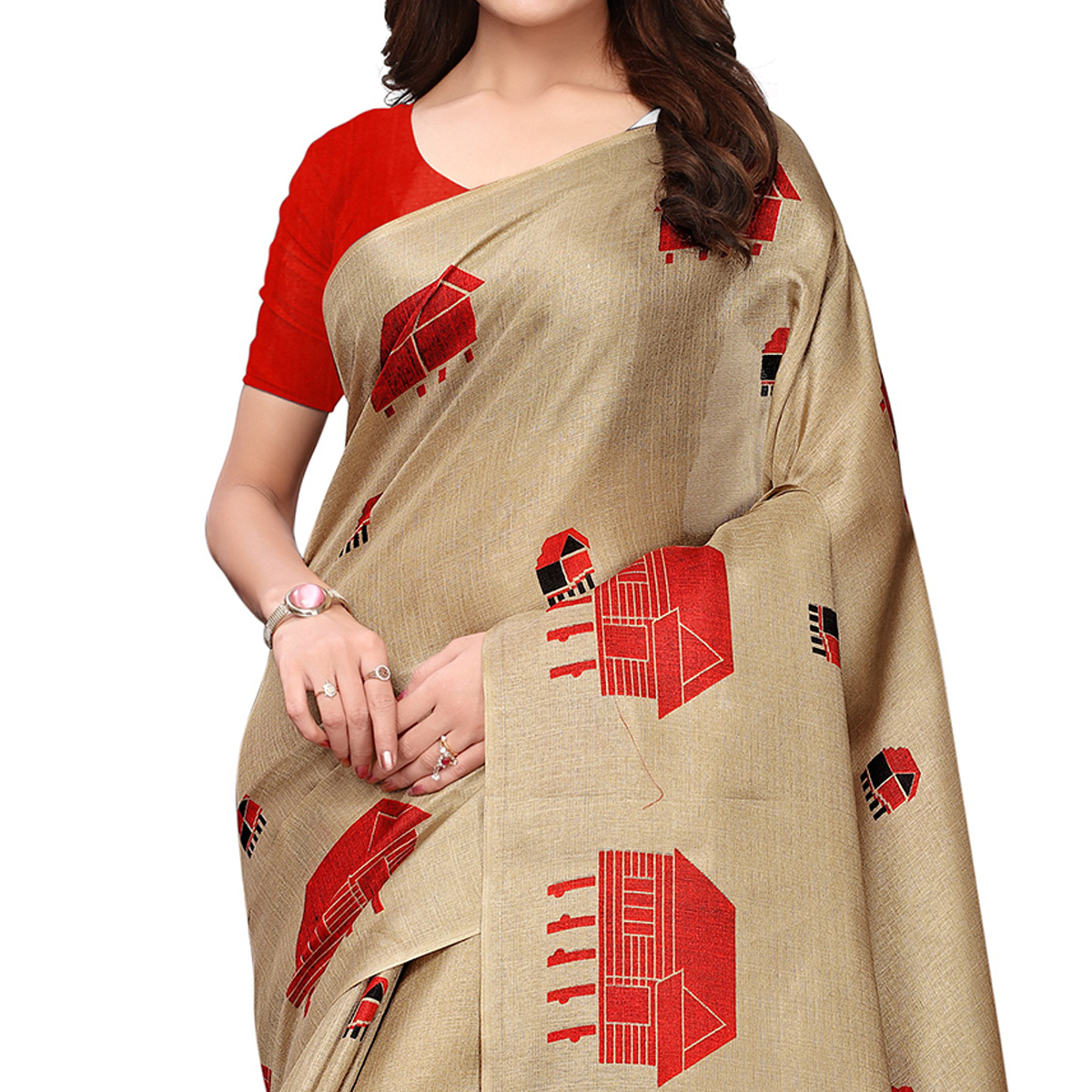 Delightful Chiku Colored Festive Wear Printed Art Silk Saree