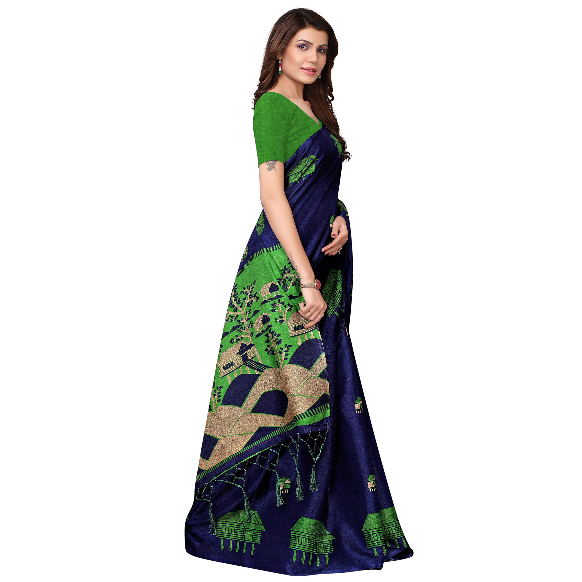 Engrossing Navy Blue Colored Festive Wear Printed Art Silk Saree