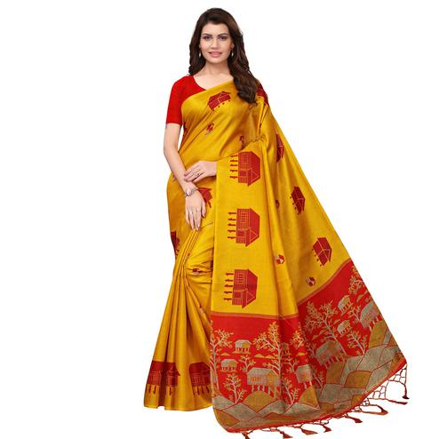 Captivating Yellow Colored Festive Wear Printed Art Silk Saree
