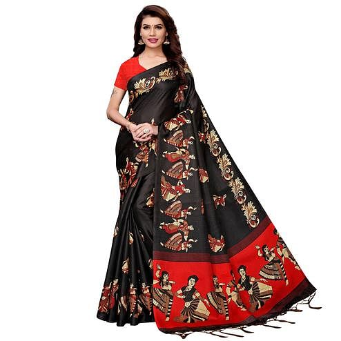 Innovative Black Colored Festive Wear Printed Art Silk Saree