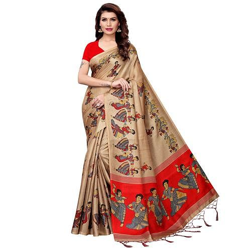 Eye-catching Chiku Colored Festive Wear Printed Art Silk Saree