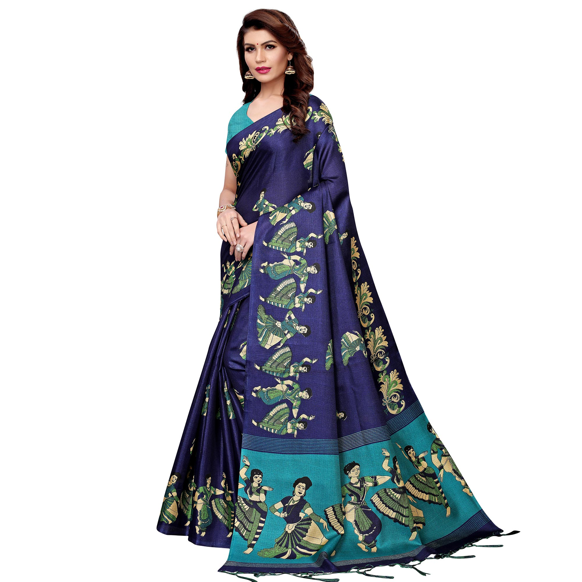 Fantastic Navy Blue Colored Festive Wear Printed Art Silk Saree