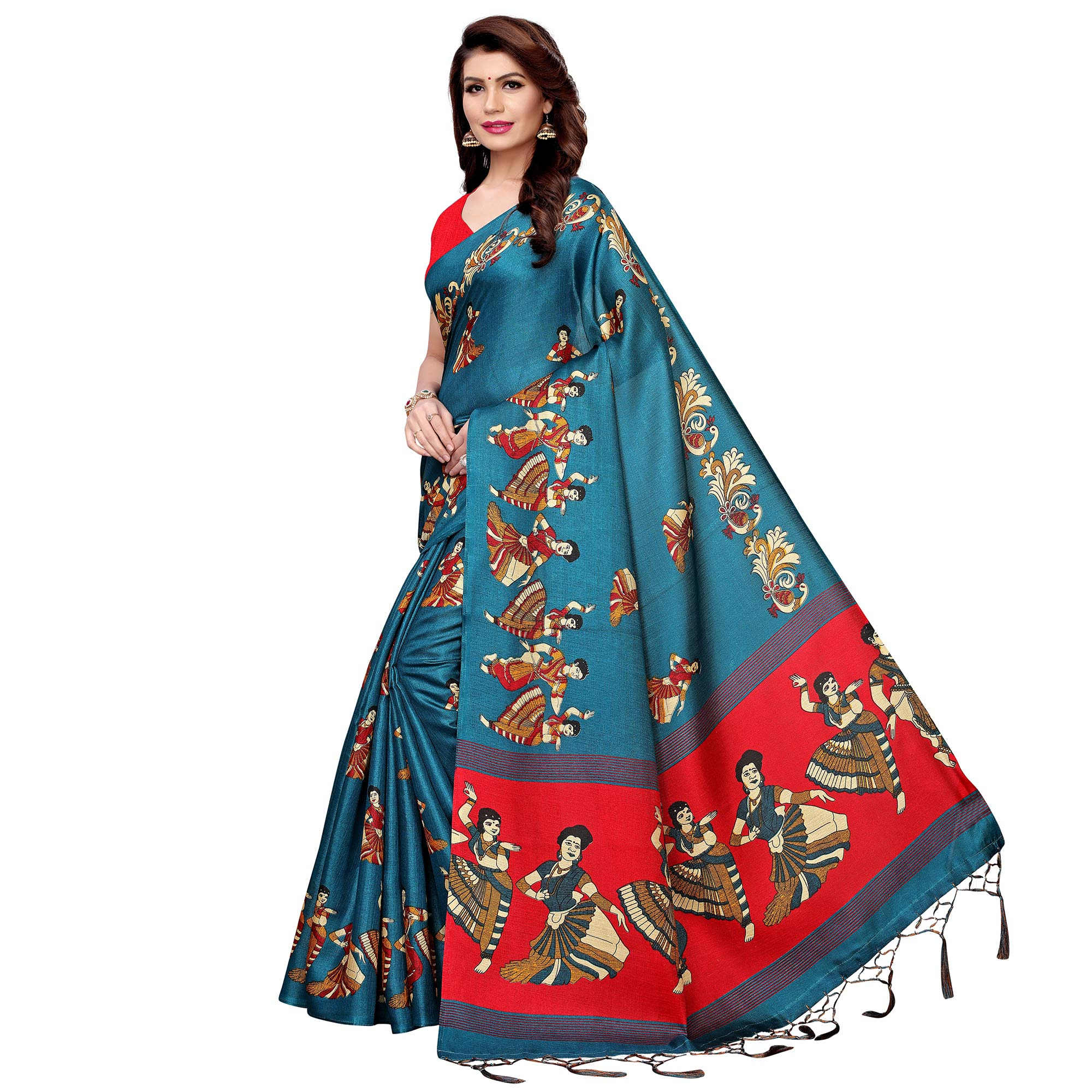 Amazing Rama Blue Colored Festive Wear Printed Art Silk Saree