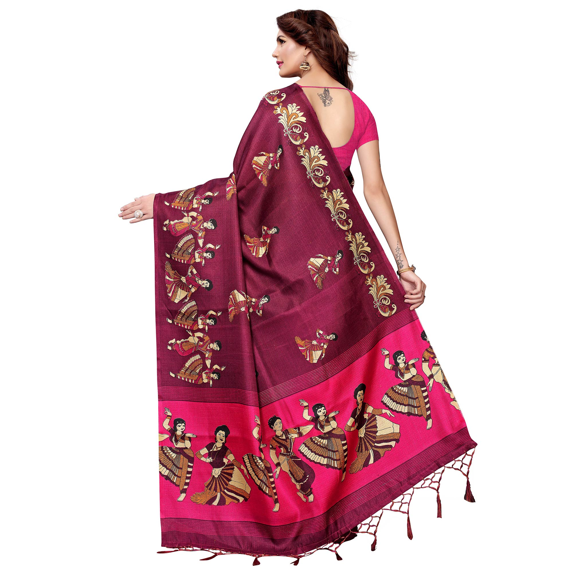 Gorgeous Wine Colored Festive Wear Printed Art Silk Saree