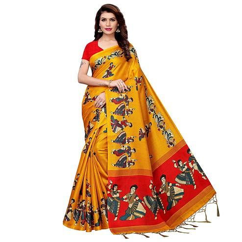 Blissful Mustard Yellow Colored Festive Wear Printed Art Silk Saree
