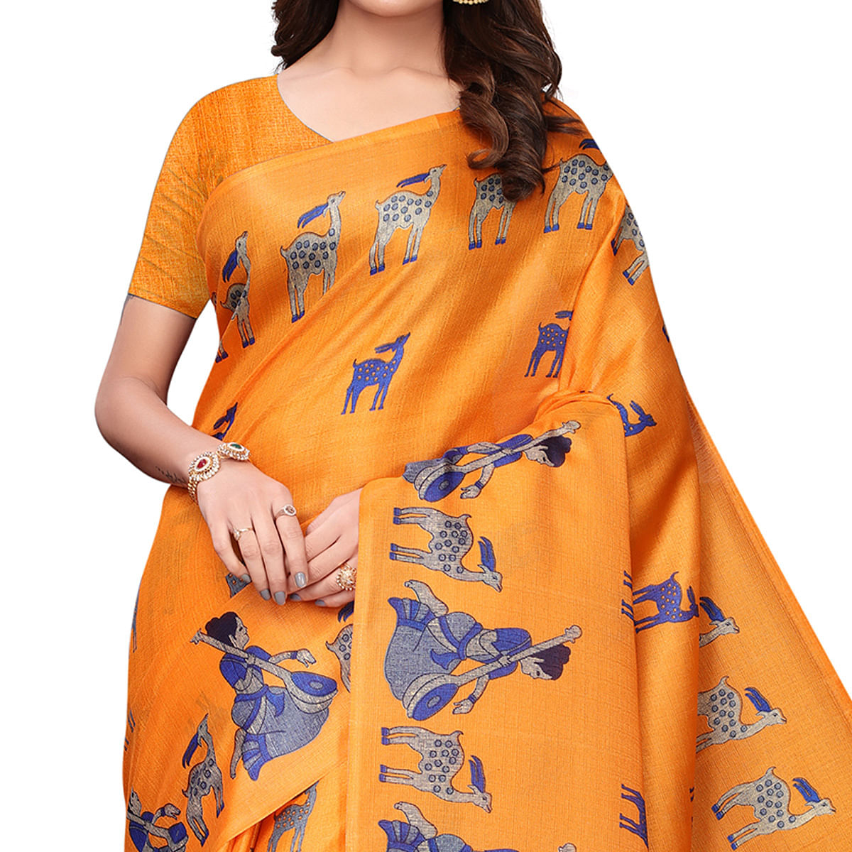 Ideal Orange Colored Festive Wear Printed Art Silk Saree