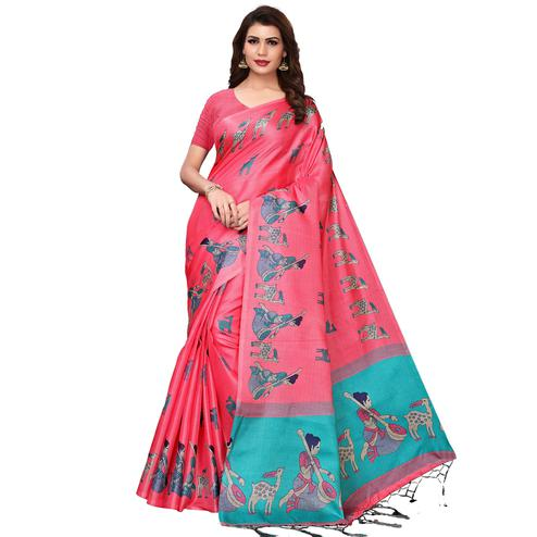 Imposing Light Pink Colored Festive Wear Printed Art Silk Saree