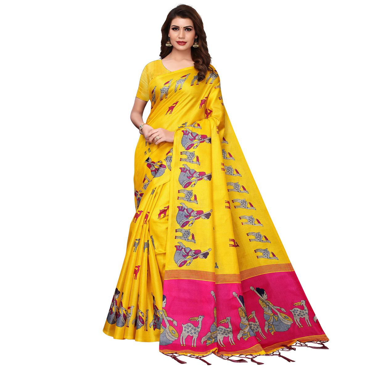 Majesty Yellow Colored Festive Wear Printed Art Silk Saree