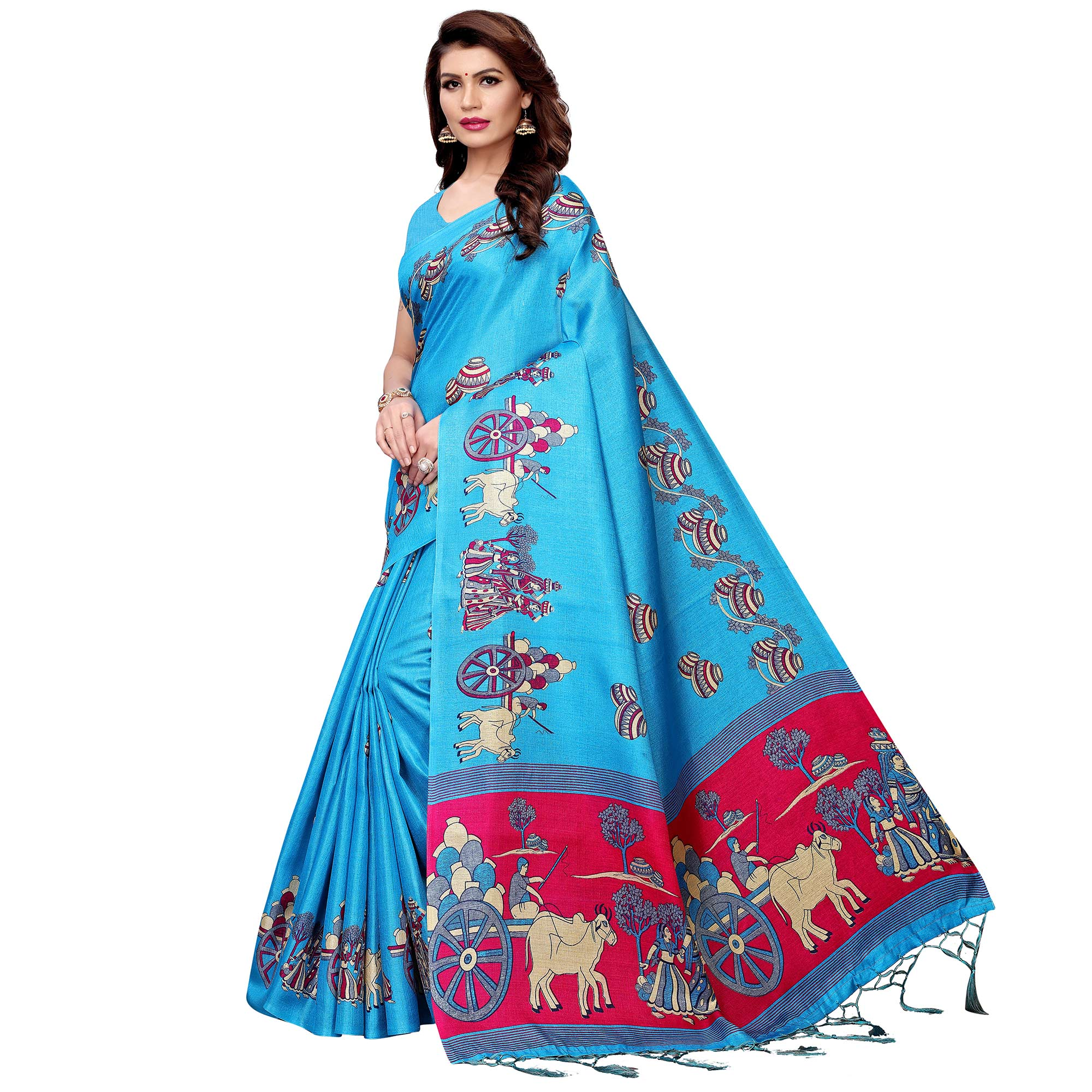Impressive Blue Colored Festive Wear Printed Art Silk Saree