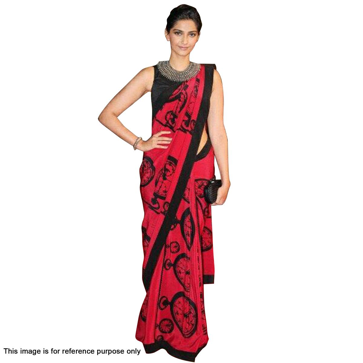 Red Premium Art Silk Saree with Fancy Prints