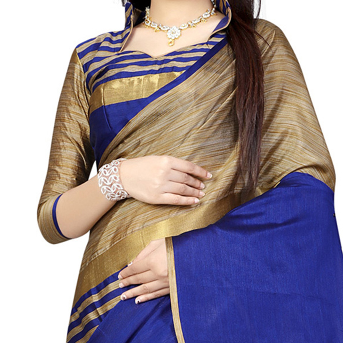 Blue Festive Wear Poly Cotton Saree