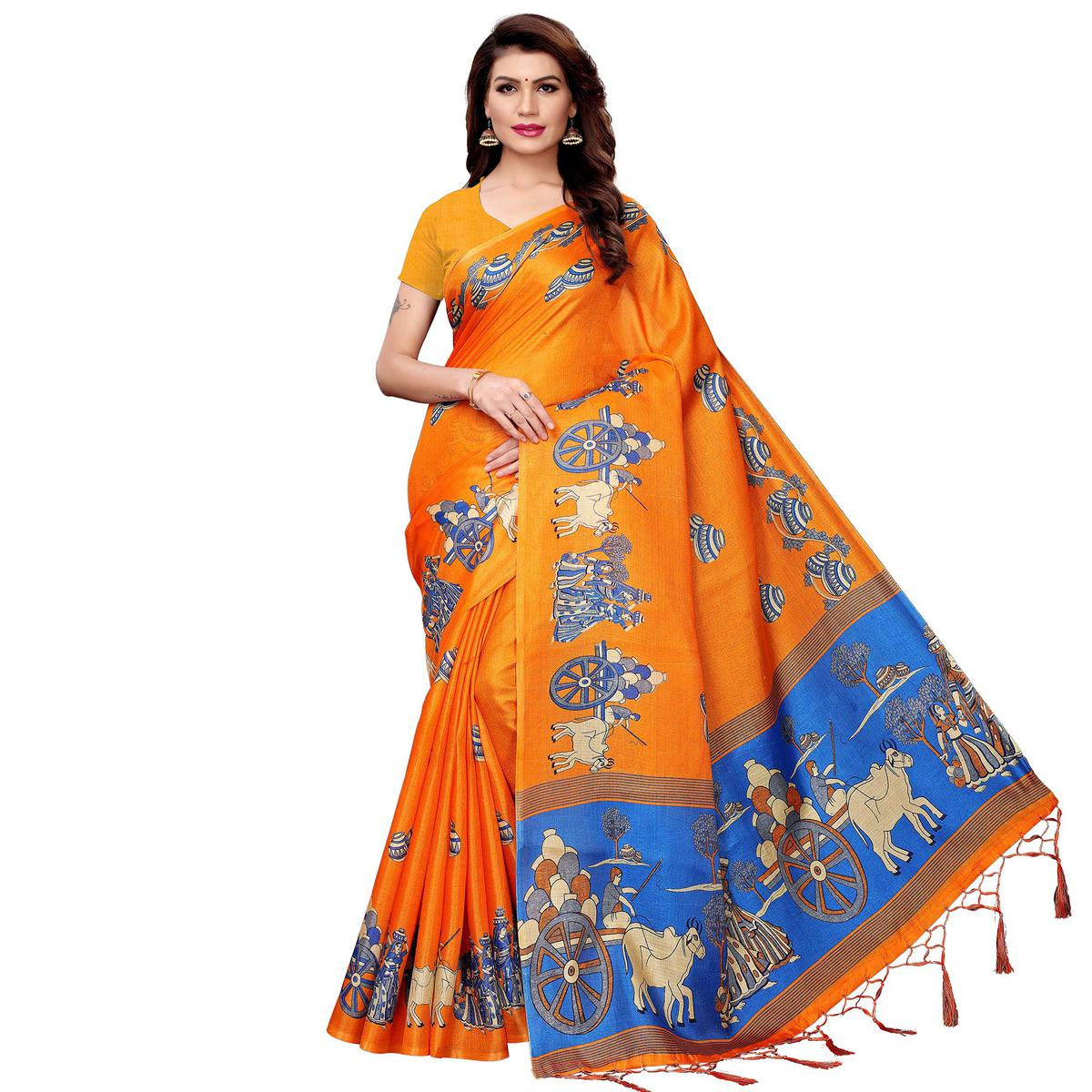 Mesmerising Orange Colored Festive Wear Printed Art Silk Saree
