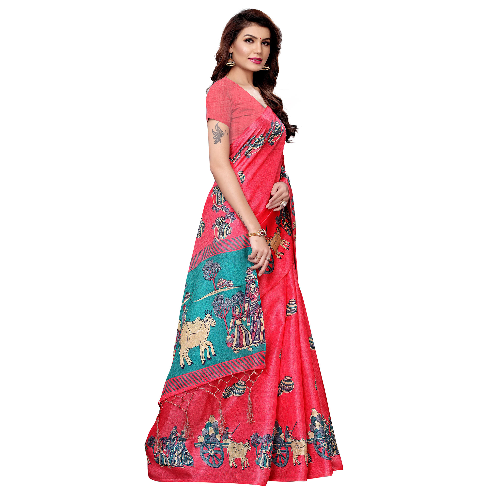 Pleasance Pink Colored Festive Wear Printed Art Silk Saree