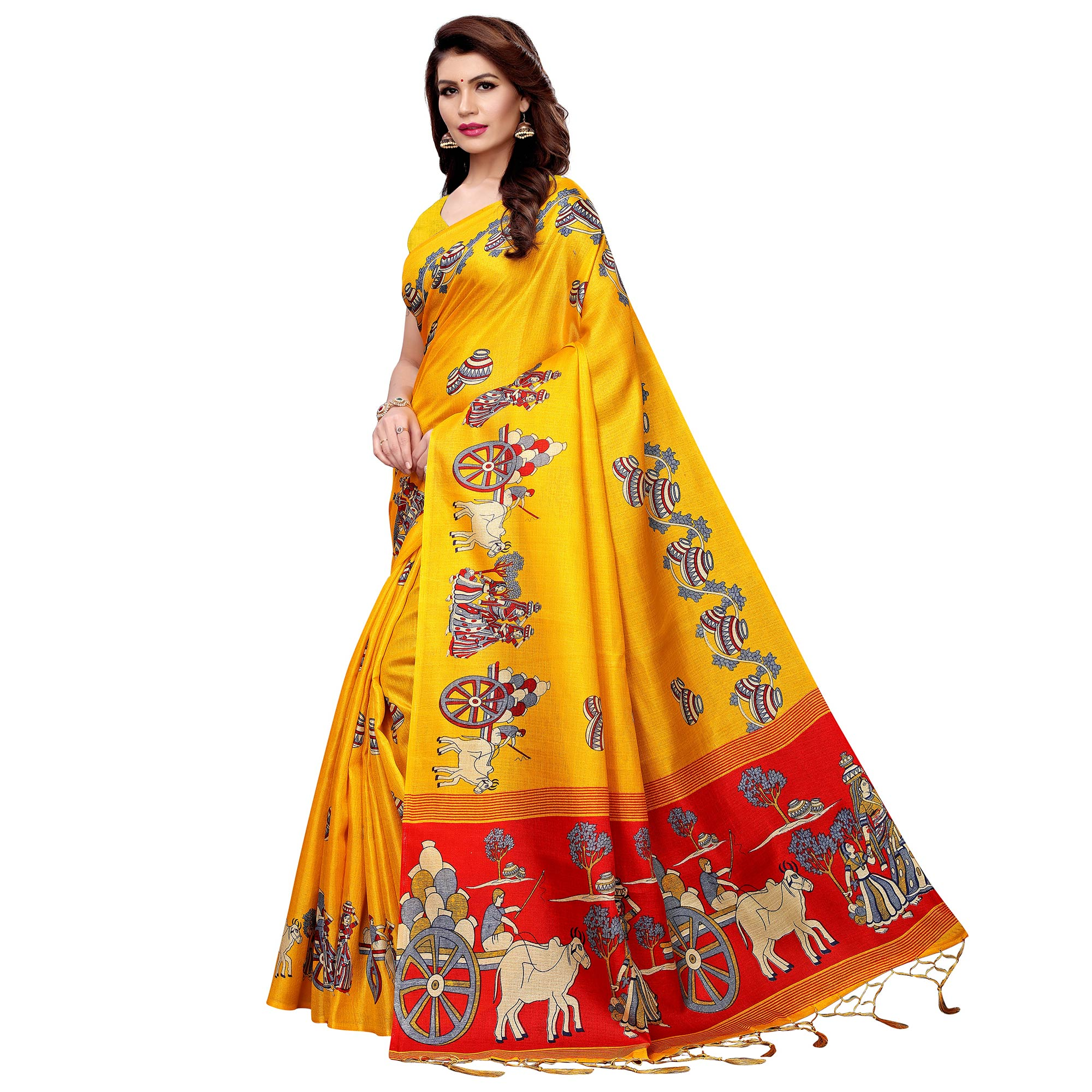 Breathtaking Yellow Colored Festive Wear Printed Art Silk Saree