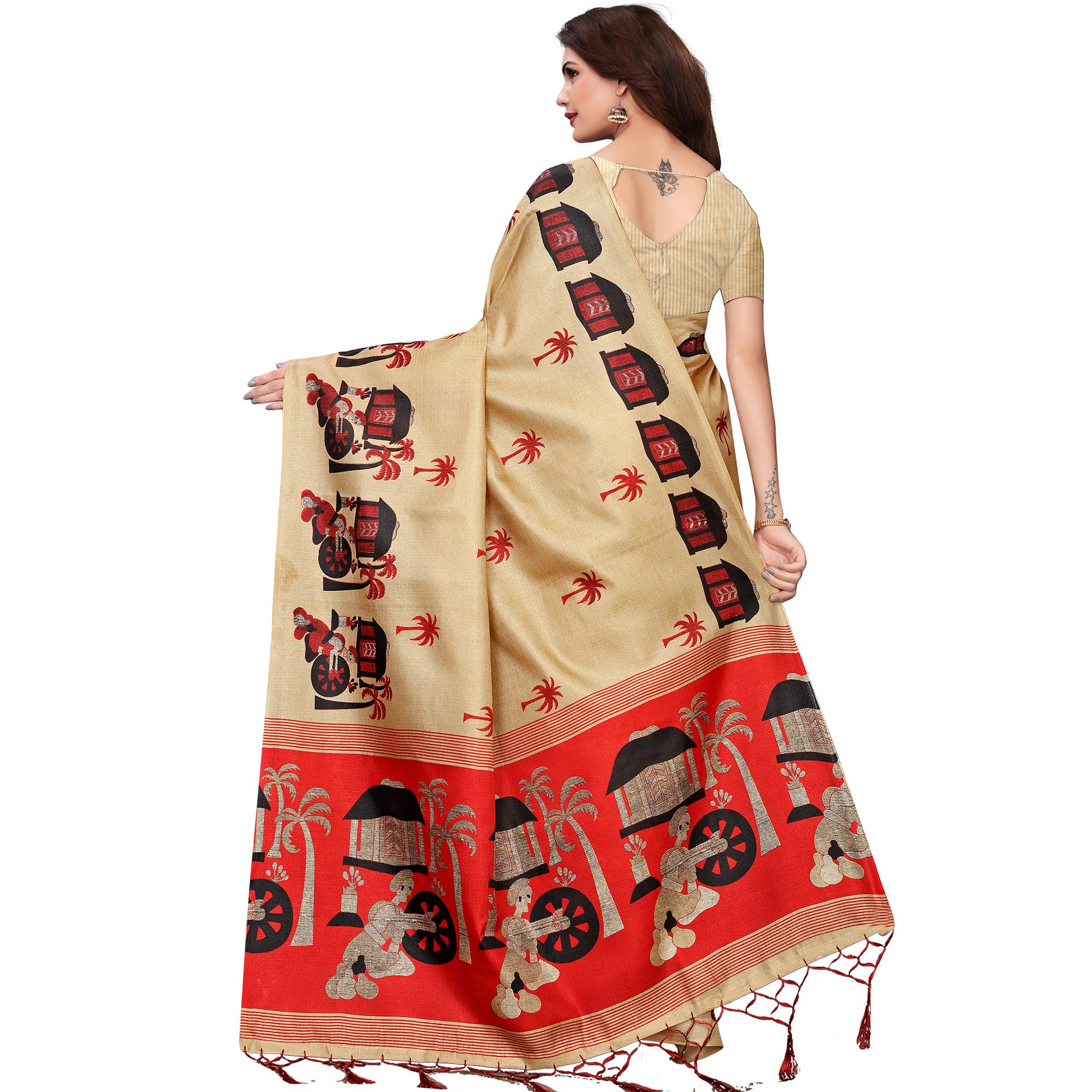 Ethnic Chiku Colored Festive Wear Printed Art Silk Saree