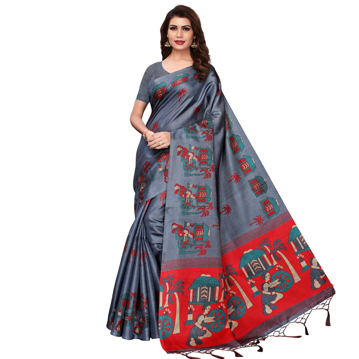 Ravishing Gray Colored Festive Wear Printed Art Silk Saree