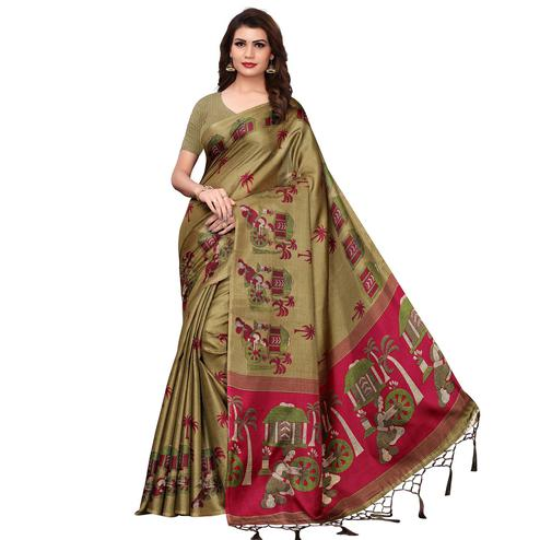Staring Mehendi Green Colored Festive Wear Printed Art Silk Saree