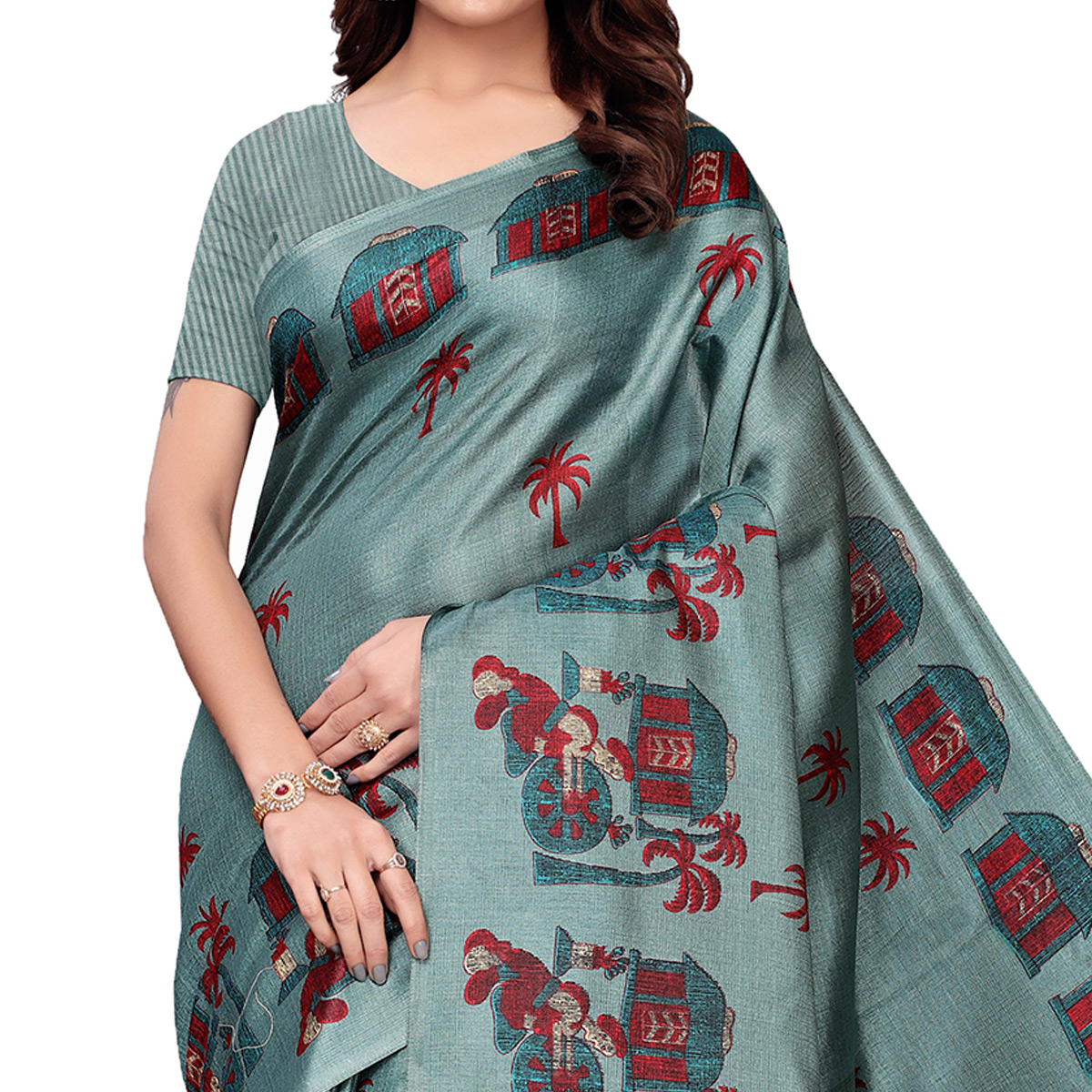 Dazzling Pastel Green Colored Festive Wear Printed Art Silk Saree