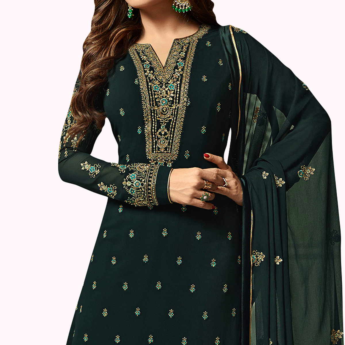Captivating Dark Navy Blue Colored Party Wear Embroidered Georgette Salwar Suit