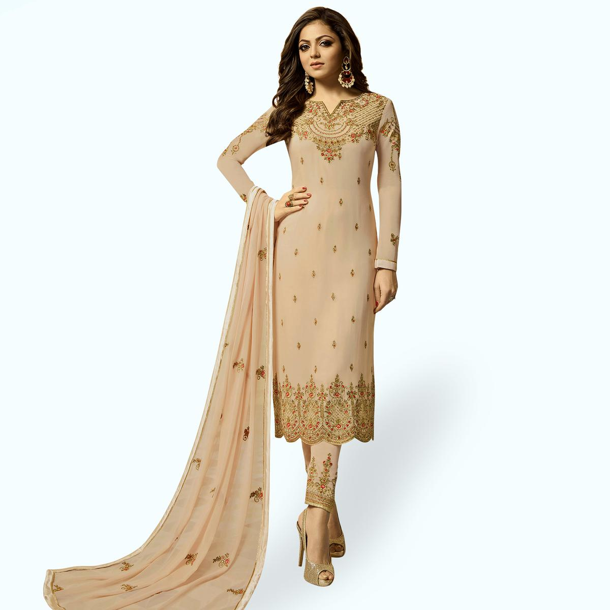 Innovative Beige Colored Party Wear Embroidered Georgette Salwar Suit