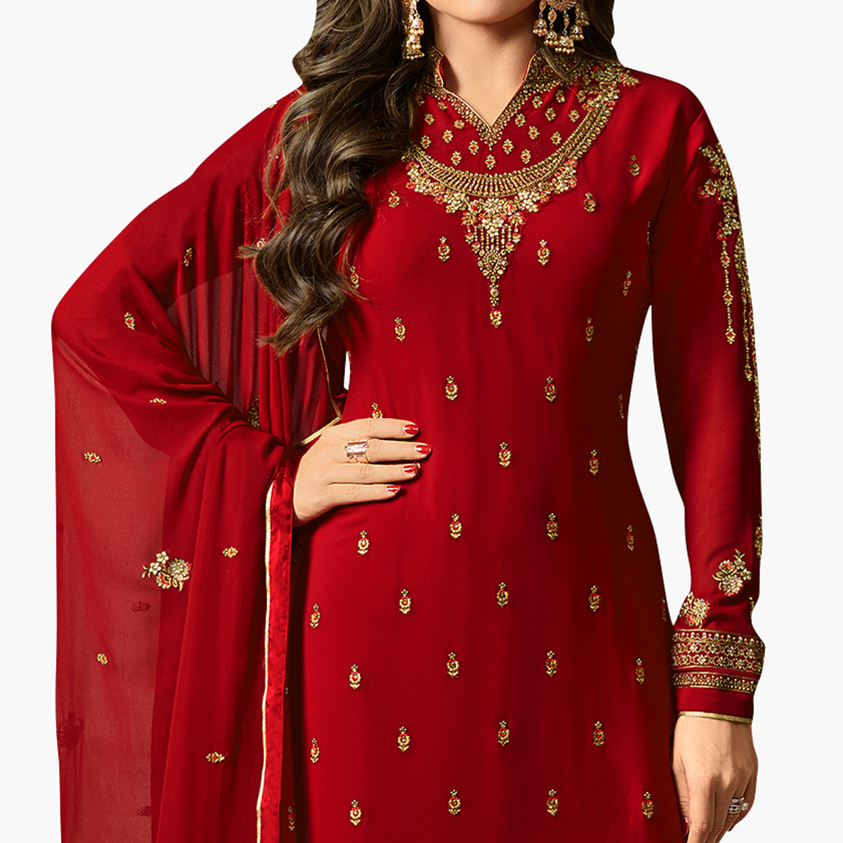 Eye-catching Crimson Red Colored Party Wear Embroidered Georgette Salwar Suit