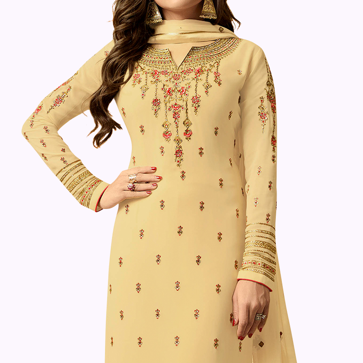Fantastic Beige Colored Party Wear Embroidered Georgette Salwar Suit