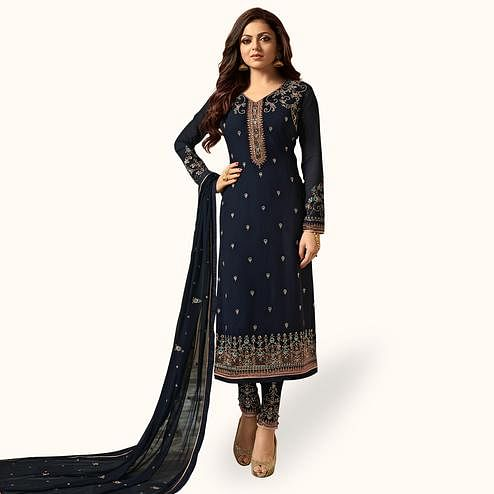 Amazing Navy Blue Colored Party Wear Embroidered Georgette Salwar Suit